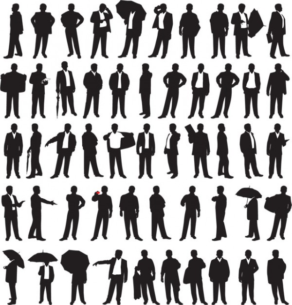 55 Business Men Silhouettes