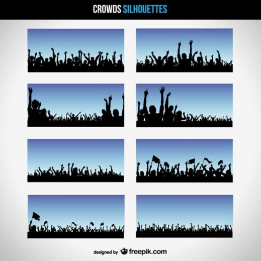 8 Free Vector Crowd Silhouettes