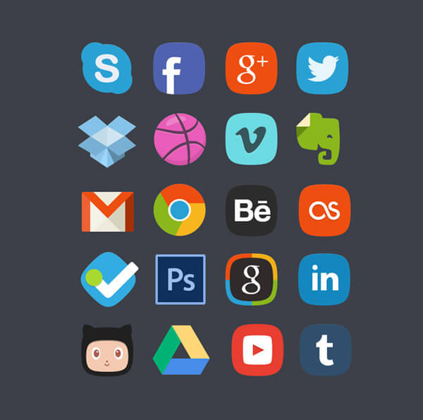 20 Social Media Badges by Denis Shepovalov