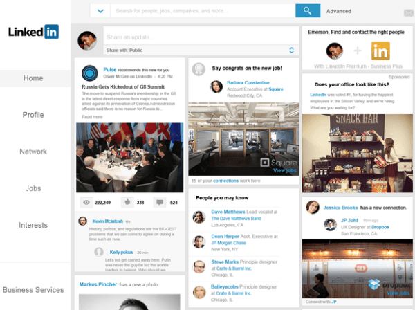 Linkedin homepage concept by Emerson McIntyre