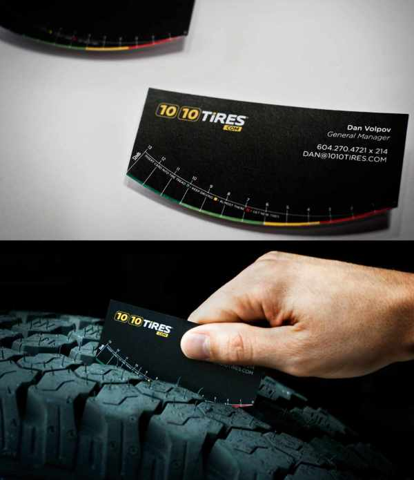 Tire tread business card