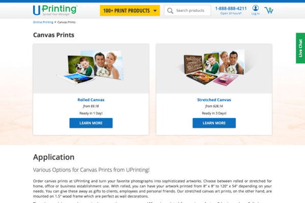 Canvas Printing in Rolled and Stretched Form - UPrinting.com (20150916)