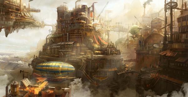Steampunk city by Tyler Edlin Art