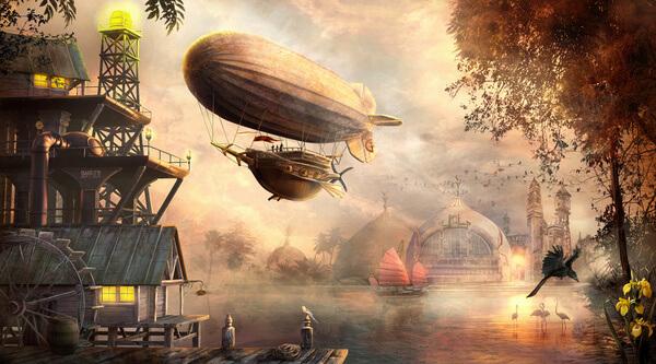 steampunk sunset by Lionandchild