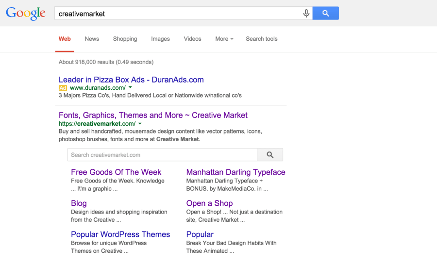 Creativemarket Google Search Result