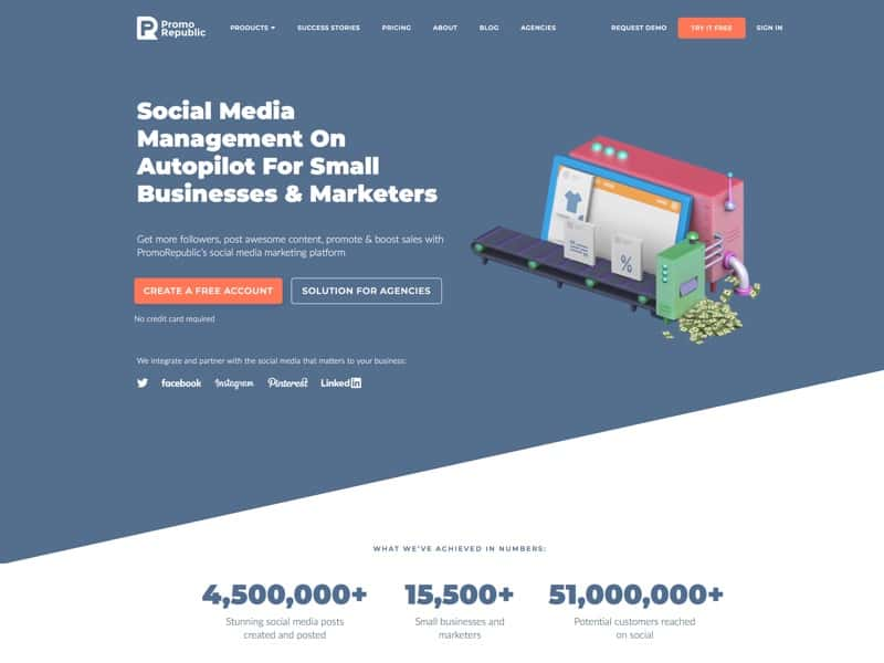 Social media management platform with a set of tools to manage multiple accounts, create marketing content, schedule it in advance and analyze results of your social media efforts in one place.