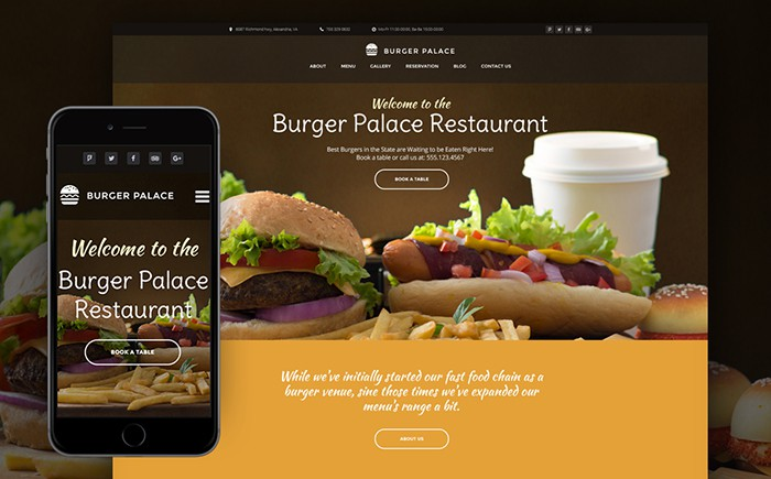 Burger Palace - Fast Food Restaurant WordPress Theme