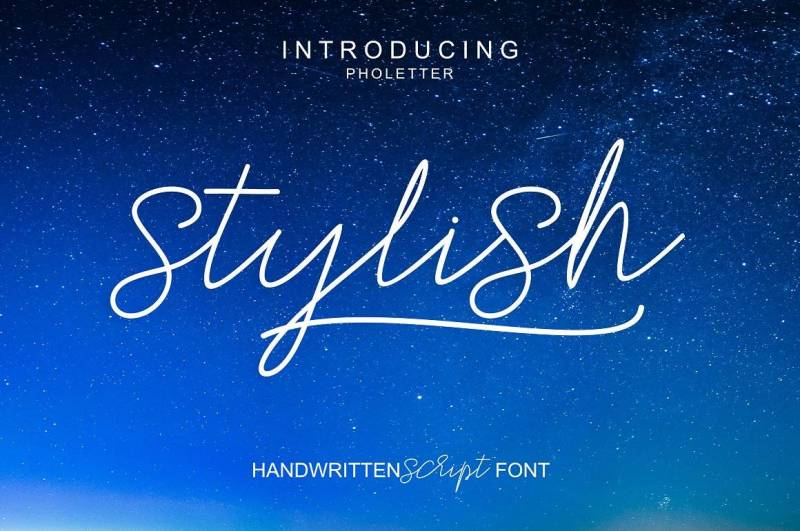 Stylish Script a new fresh & modern script with a handmade calligraphy style, decorative characters and a dancing baseline! So beautiful on invitation like greeting cards, branding materials, business cards, quotes, posters, and more!!