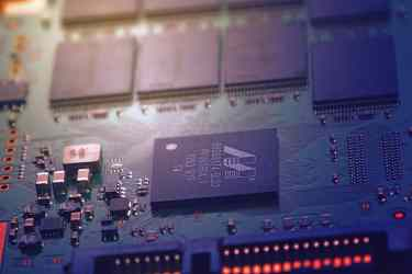 Close up photo of a computer circuit board