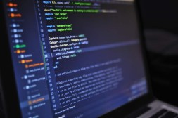 Code script on a laptop screen