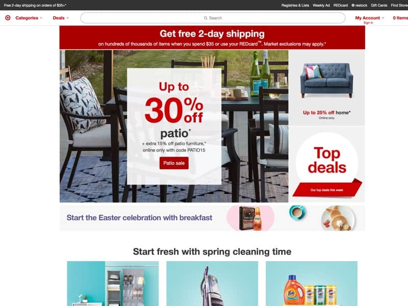 Free shipping on orders of $35+ or free same-day store pick-up, plus free and easy returns. Save 5% every day with your Target REDcard.