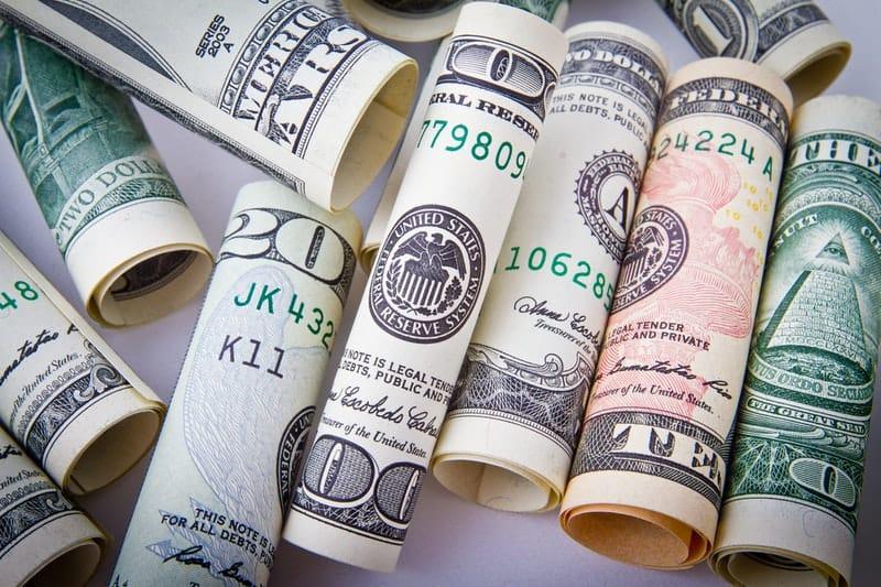 Rolled 20 us dollar bill