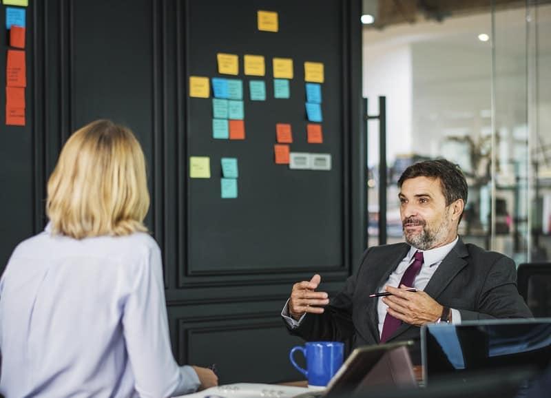 Employeer interviewing a new employee