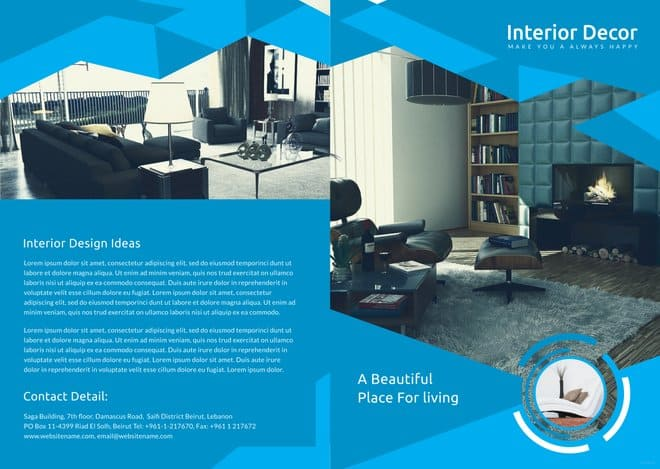 Creative Interior Decor Bi-Fold Brochure Template