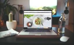 Wordpress Website on a macbook pro inside a modern home