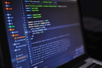 close up of code on a computer screen