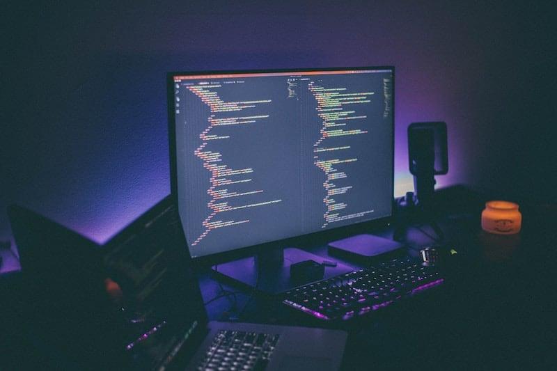 Code on a Desktop Screen at Night