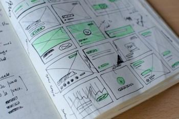 Wireframes drawn inside a notebook