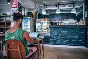 Digital Nomad Working Inside a Coffee Shop-min