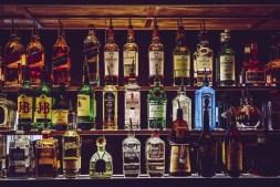 assorted spirit bottles