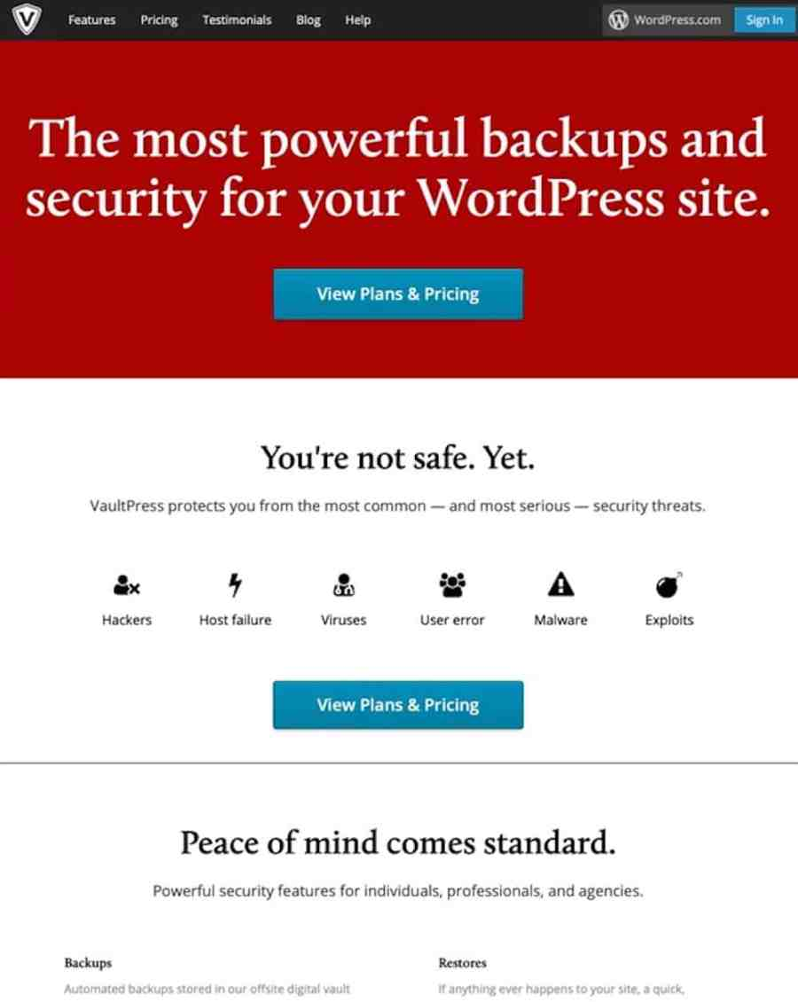 VaultPress is a subscription-based protection, security and backup service for WordPress blogs and sites. Built on the same Automattic grid that serves over 32 million WordPress.com blogs and 330 million monthly visitors, VaultPress secures your site.