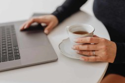 Woman blogging in the morning