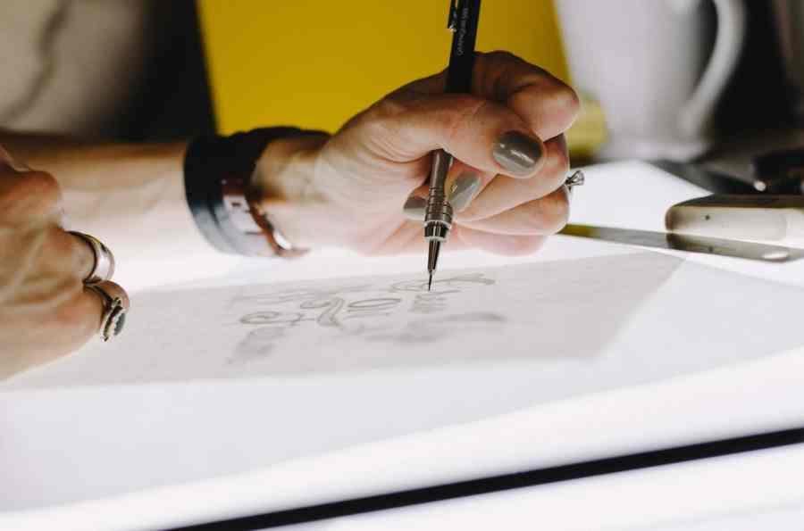 Designers Sketching a Wedding Invitation Idea