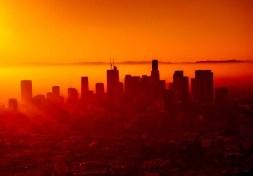 Los Angeles City During Orange Sunset