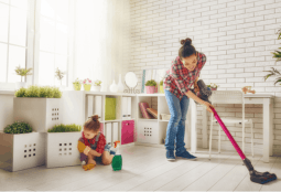 women cleaning room