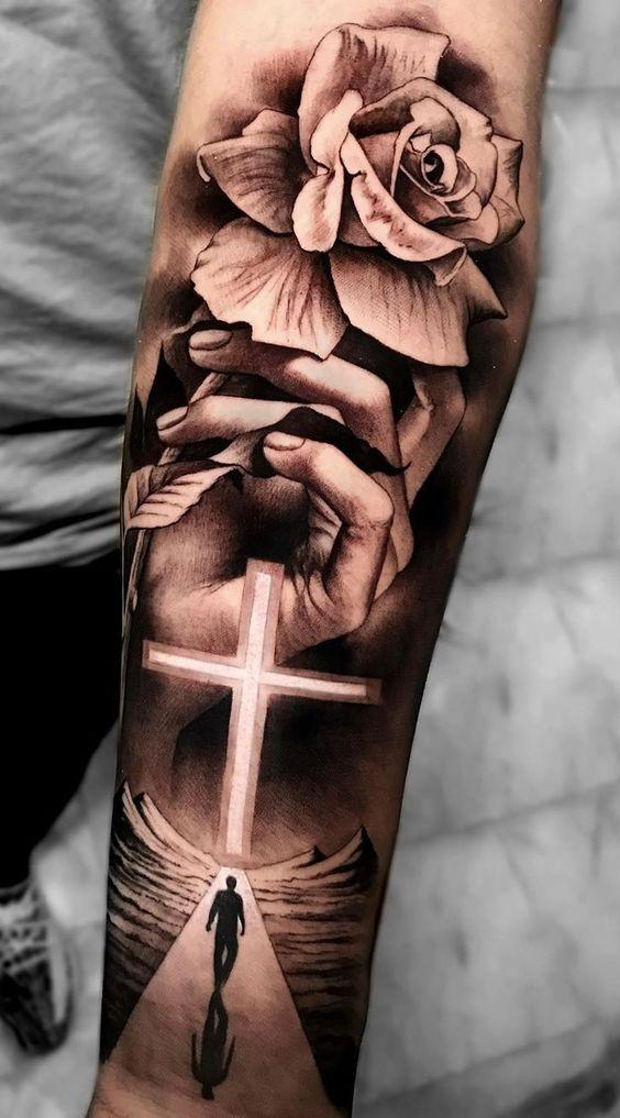 Tricep Cross Tattoo : tricep, cross, tattoo, Beautiful, Cross, Tattoos, Showcase, Faith, Inspirationfeed