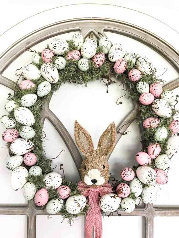 diy farmhouse speckled egg wreath