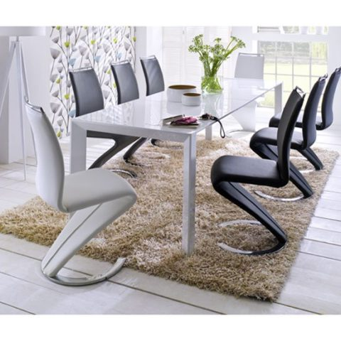 z shaped high chair metal stacking chairs outdoor contemporary white gloss extending dining table 8 jumbo din summer dini