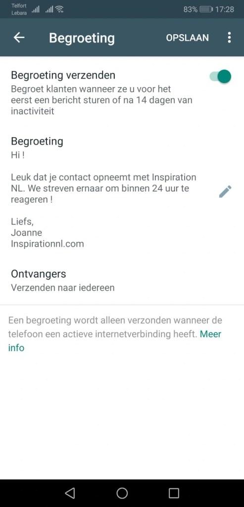 Begroeting - Whatsapp Business