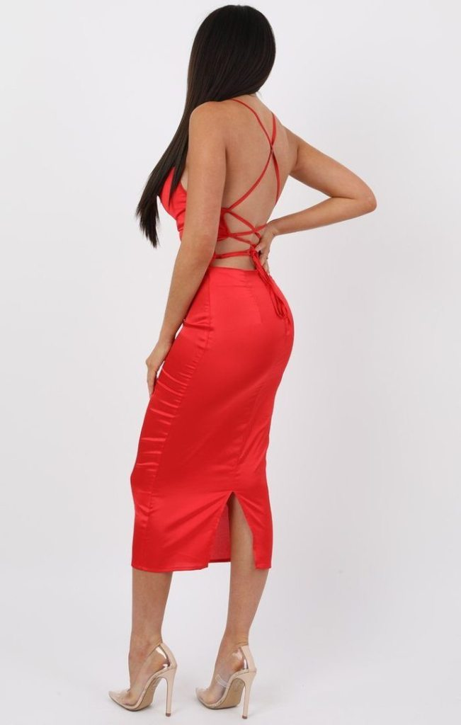 Red Satin Cowl Neck Bodycon Midi Dress