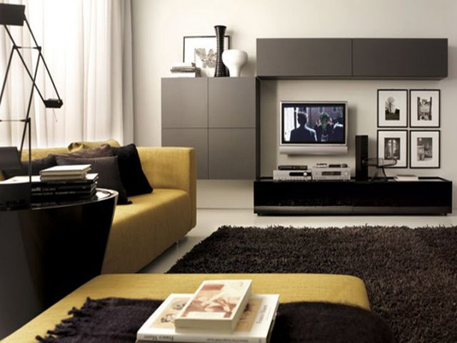 grey and yellow living room decorating ideas leather rooms sets small in house design ...