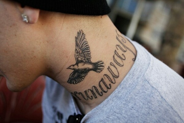20 Lettering Neck Tattoos Men Ideas And Designs