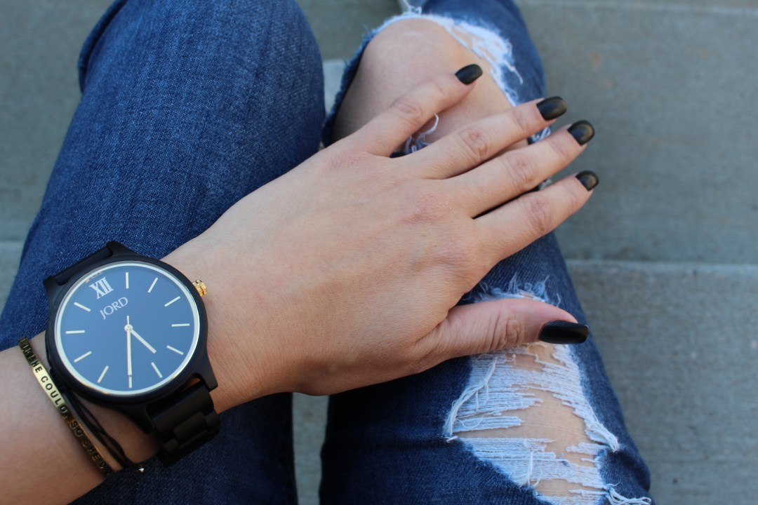 Word Wood Watches Frankie in Ebony & Gold