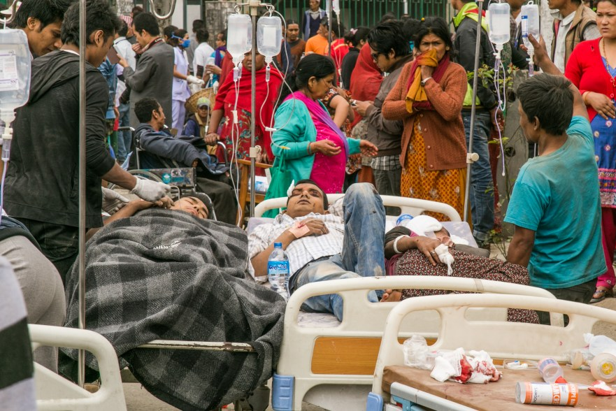 Outside of the hospital, doctors, nurses and volunteers set up makeshift medical services.