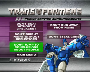 DVD menu showing Transformers Public Service Announcements