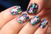 rainbow glitter herringbone nails