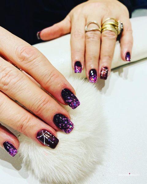 Dark Purple Nails With Glitter