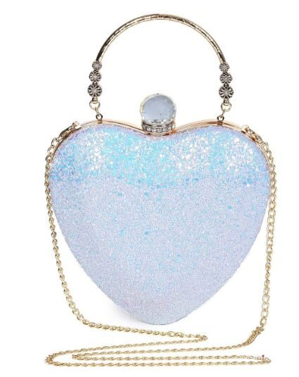 Metal Handle Heart Shape Rhinestones Evening Bag