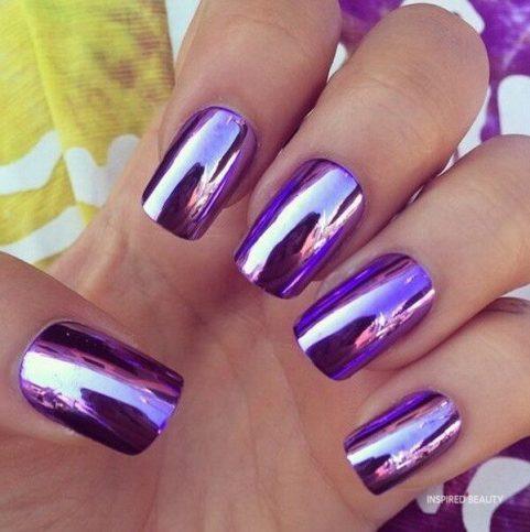 Metallic Purple Nail Art