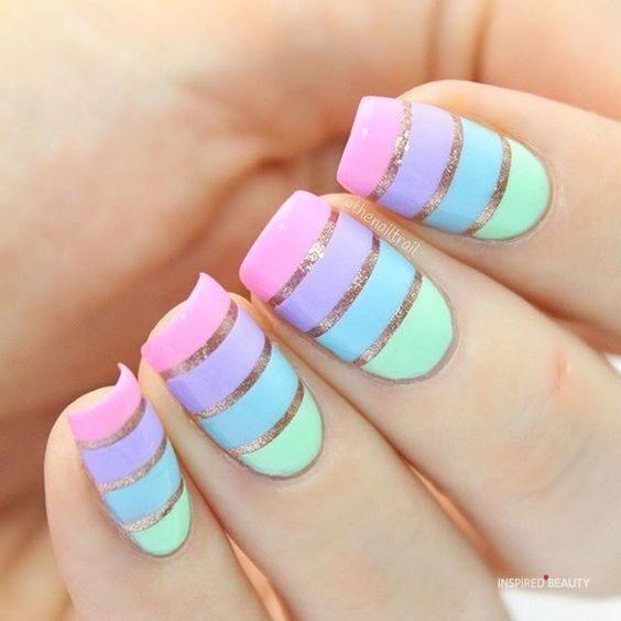 multi color nail art
