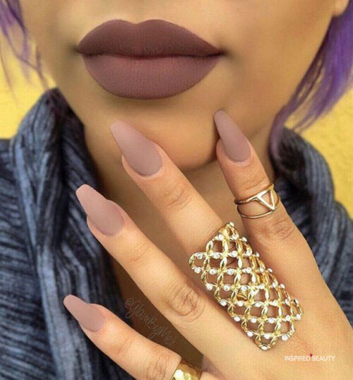 cute coffin nails , these nude coffin nails