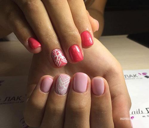 Pink Short Acrylic Nail Designs