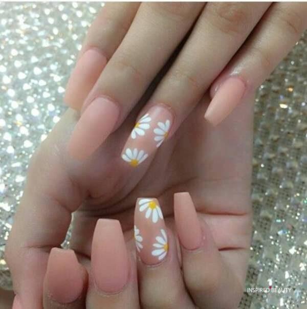 Peach coffin shape nails