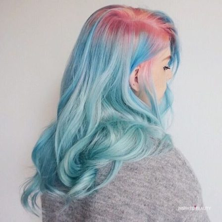 Pink ombre hair with blue idea