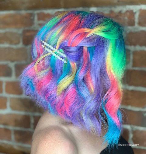 rainbow braid hair