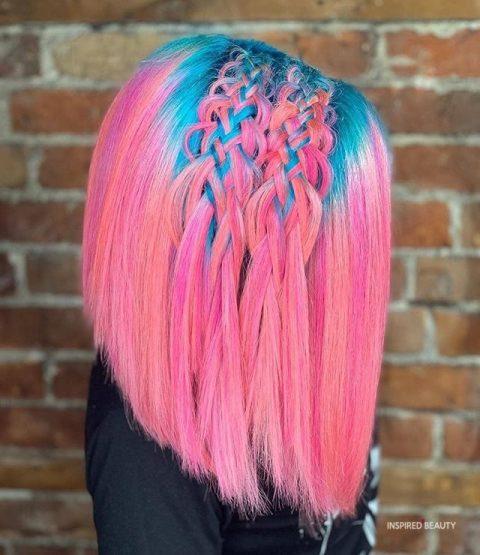 pink and blue mermaid hair